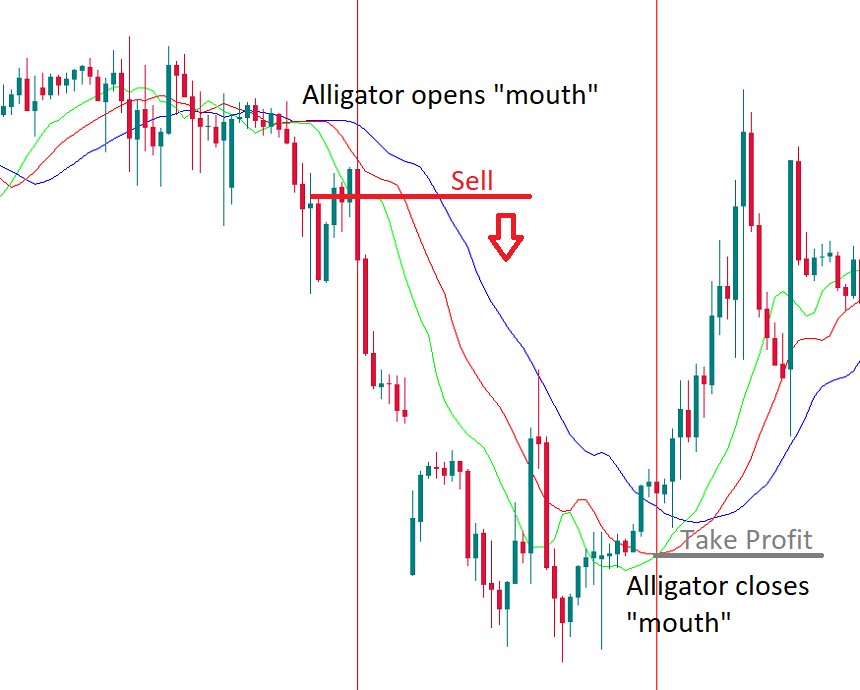 Alligator opens and closes mouth candlestick chart